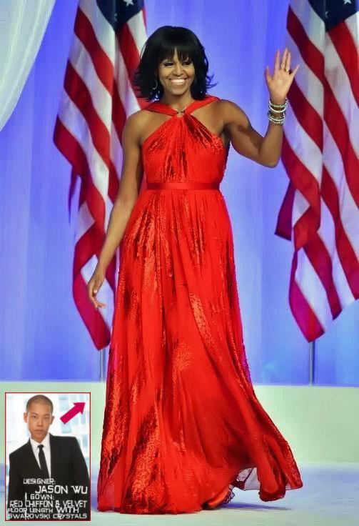 Michelle Obama Wore A Beautiful Red Chiffon Jason Wu Dress ...